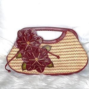 Isabella Fiore Straw Floral Clutch Handbag